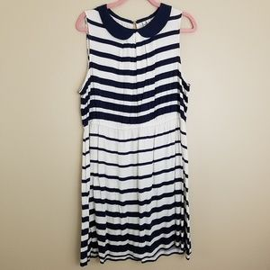 Elle sleeveless dress striped peter pan collar XL